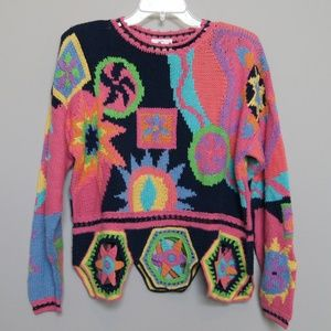 90s Bright Multi Color Sweater w Cutouts